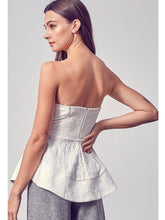 Load image into Gallery viewer, White Textured Strapless Top