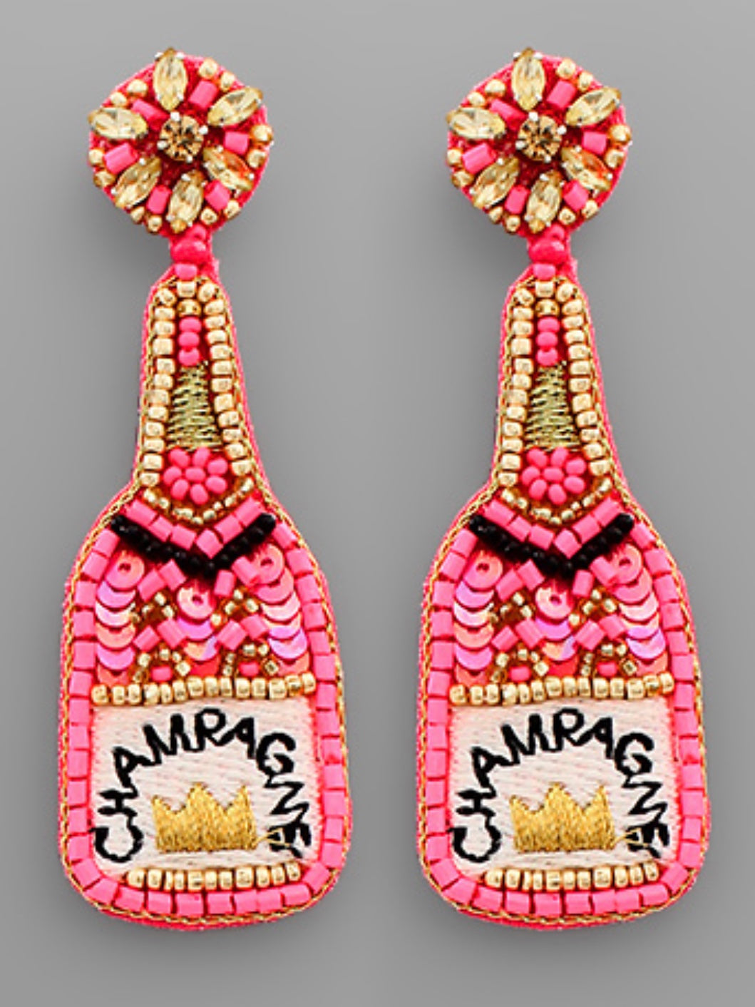 Pink Crown Champagne Bottle Earrings