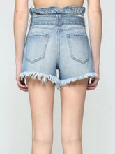 Load image into Gallery viewer, Light Wash High Rise Paperbag Denim Shorts