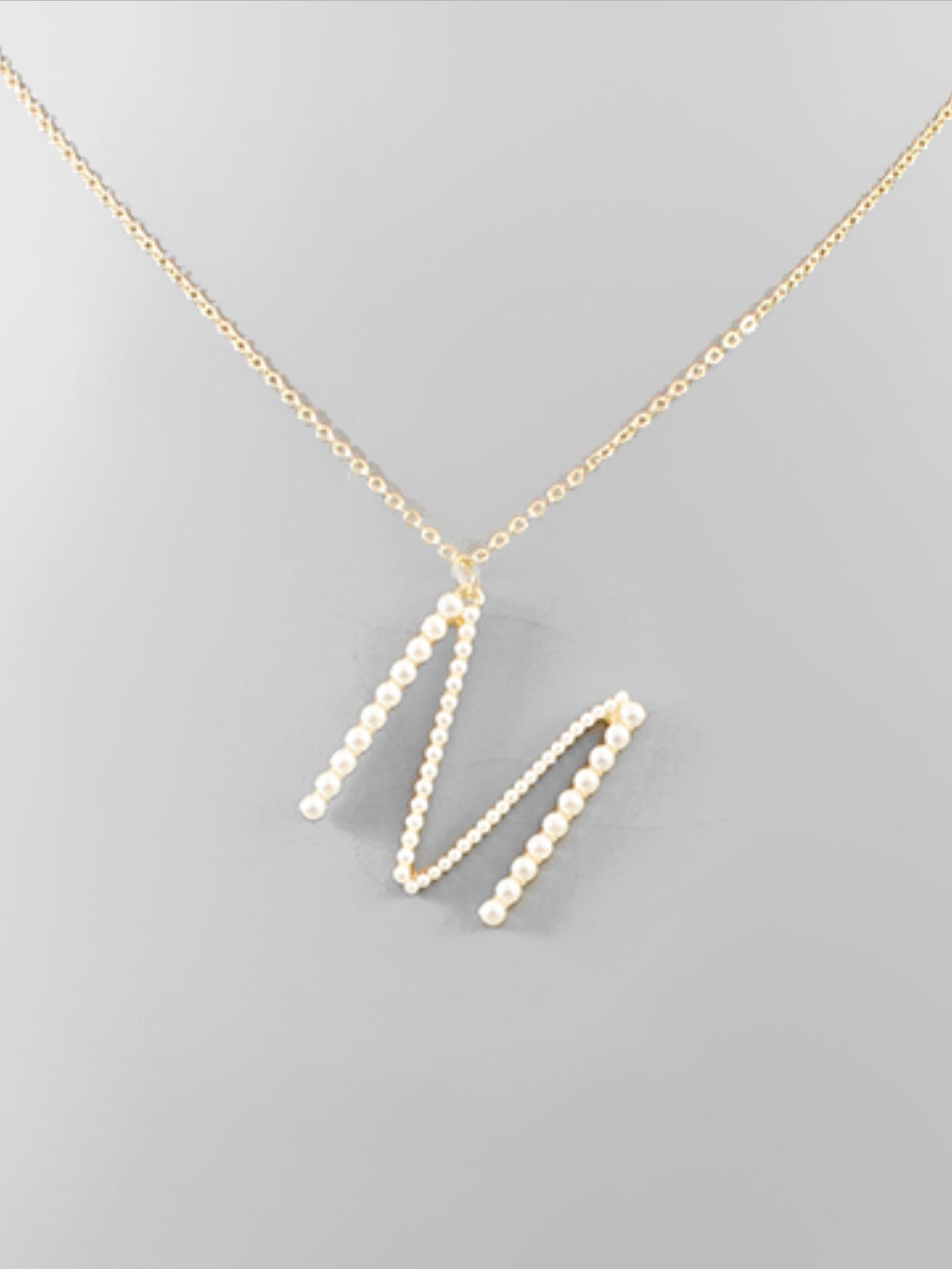 """M"" Pearl Initial Necklace"