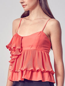 Flamingo Ruffle Pleat Top