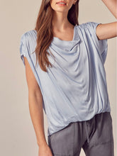 Load image into Gallery viewer, Misty Blue Drape Neck Top