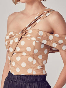 Taupe Dot One Shoulder Crop Top