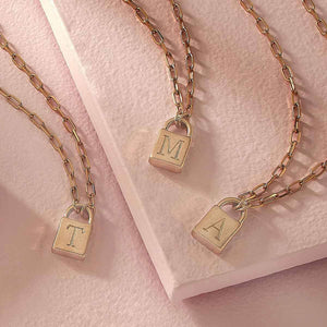"""S"" Initial Gold Padlock Necklace"
