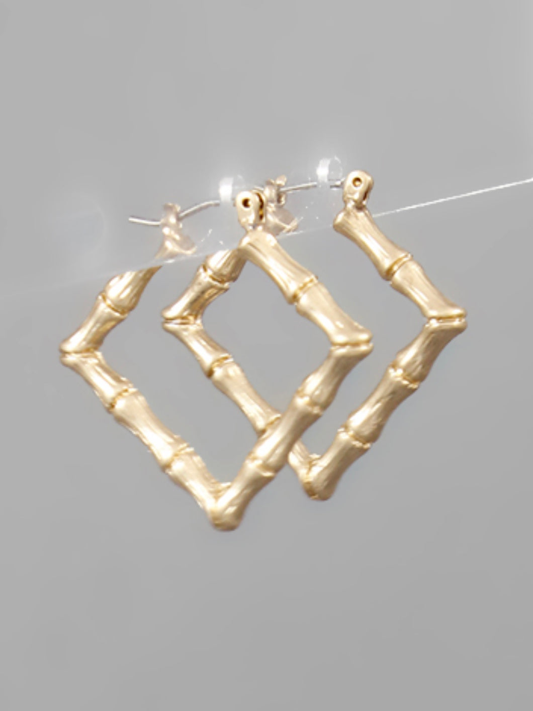 Worn Gold Bamboo Square Hoops