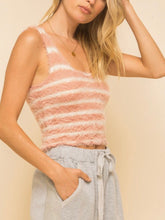 Load image into Gallery viewer, Mauve & Ivory Fuzzy Stripe Sweater Cami