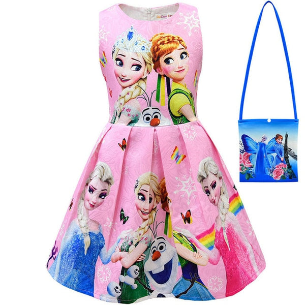New 2020 Girls Dress And Bag Kids Cartoon Cosplay Snow Queen Dresses Princess Elsa Party Dresses Anna Costume Baby Children Clothing