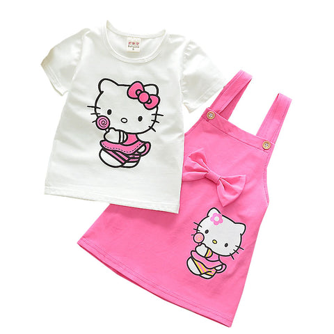 Cotton Suspender Skirt Two-piece  Short-sleeved T-shirt Kt Cat Cartoon Printing 1-4 Y Child Quality Clothing