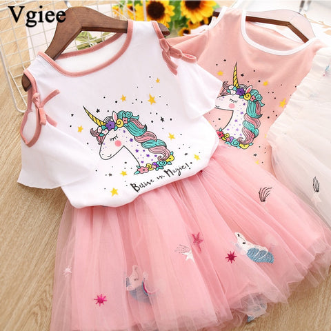 2020 new Unicorn Girls Dress 2pc Clothes Set Baby Toddler  T- Shirt Children Kid Dresses for Girl Party Dress
