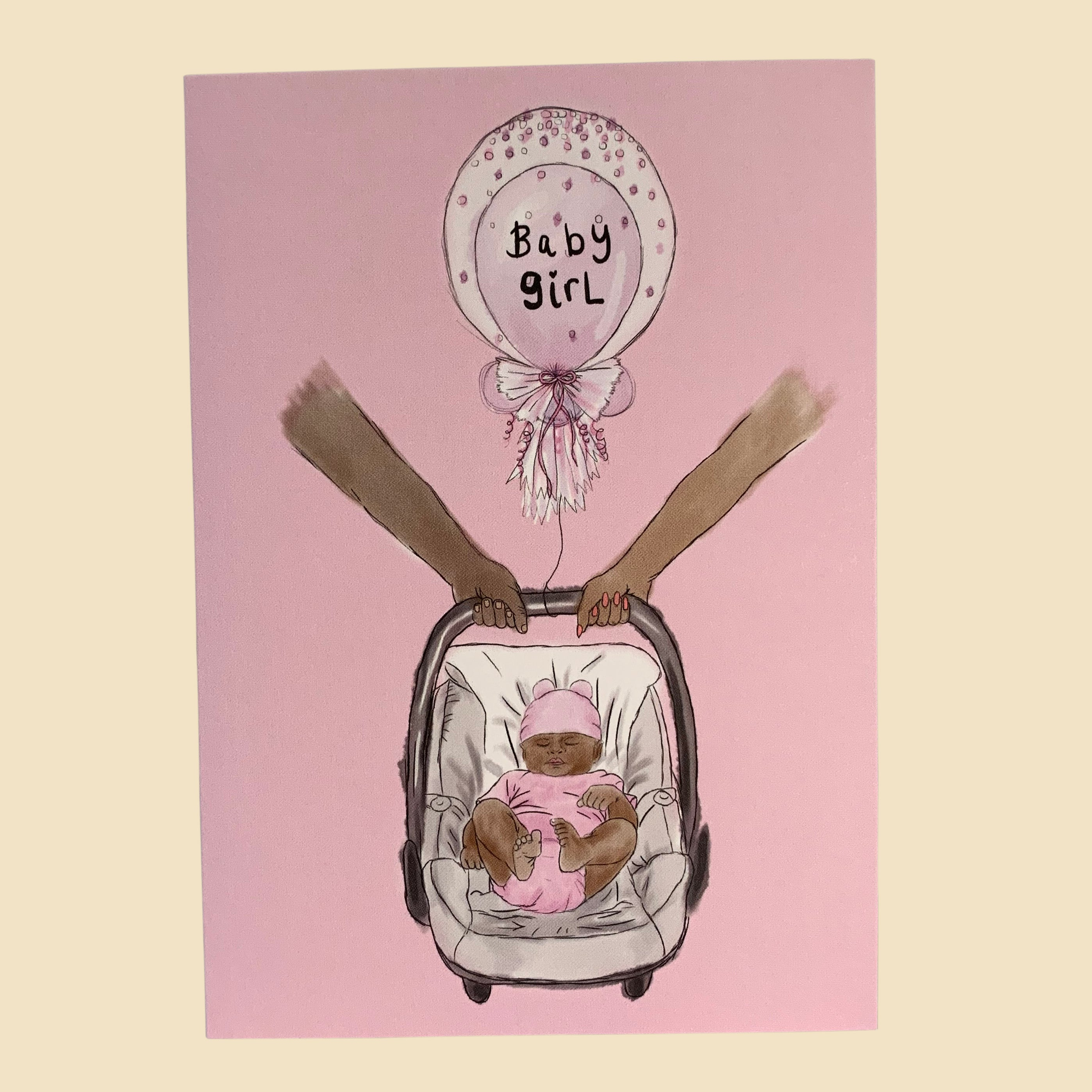 Newborn girl pink card