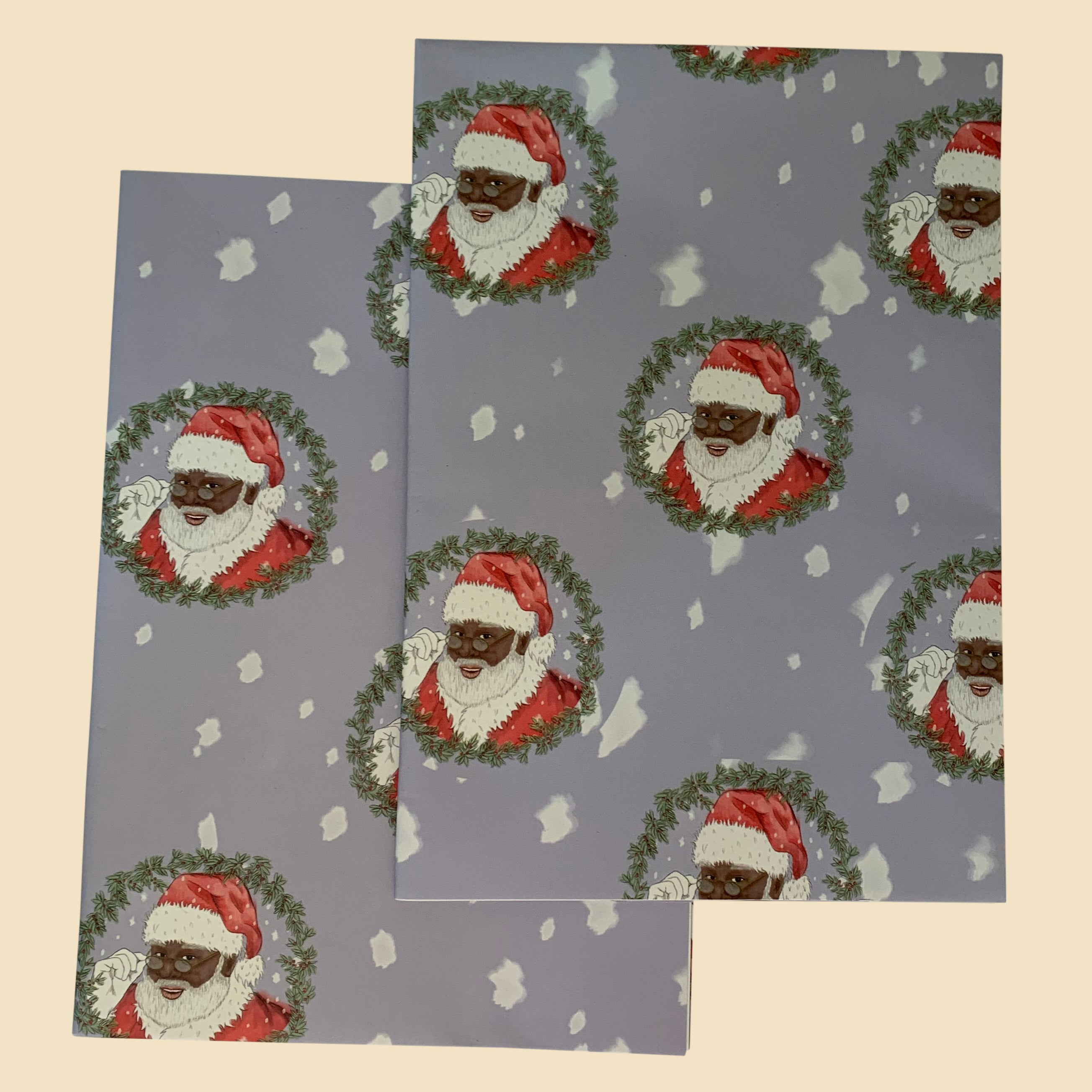 Blue Santa wrapping paper
