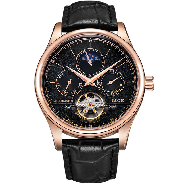 LIGE Mechanical Tourbillon Leather Sport Watch - mihwatches