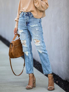 Blue Casual Solid Pockets Ripped Jeans