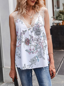 White Floral Sleeveless Floral-Print  Lace Top