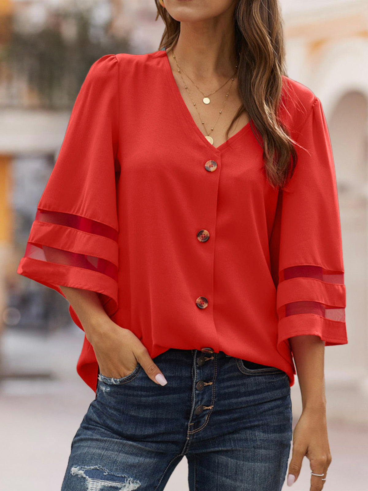 Red Casual Shift V Neck Blouse