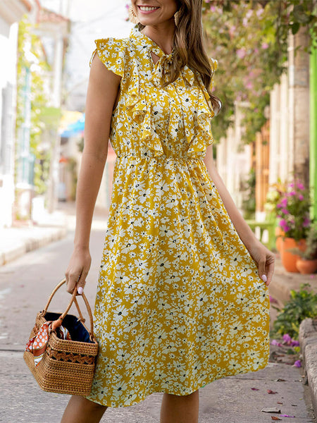 Yellow  Holiday Floral Midi Dress