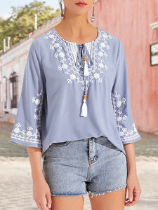 Gray Holiday  Embroidered Top