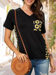 Summer Yellow Short Sleeve Printed Casual Top