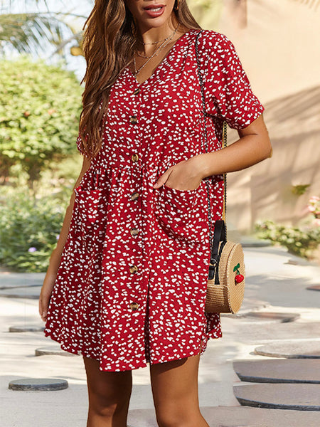 V Neck Holiday Floral Mini Dress