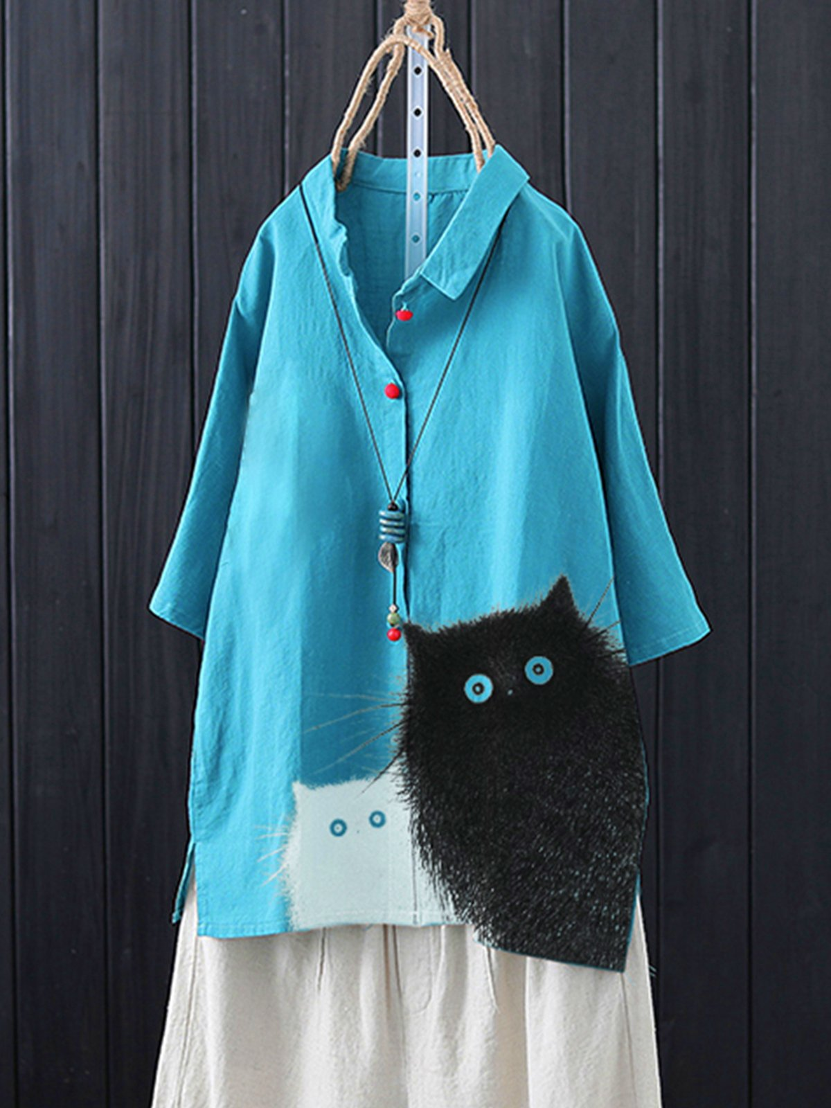 Blue Casual Cotton-Blend Animal Shirts & Tops