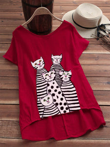 Red Sweet Cotton-Blend Shirts & Tops
