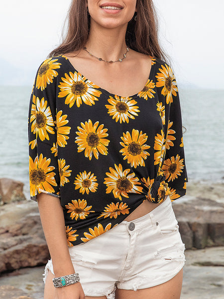 Women Knitted Daisy Floral Holiday Tee
