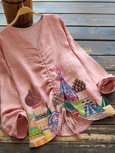 Pink Floral Cotton-Blend Casual Shirts & Tops