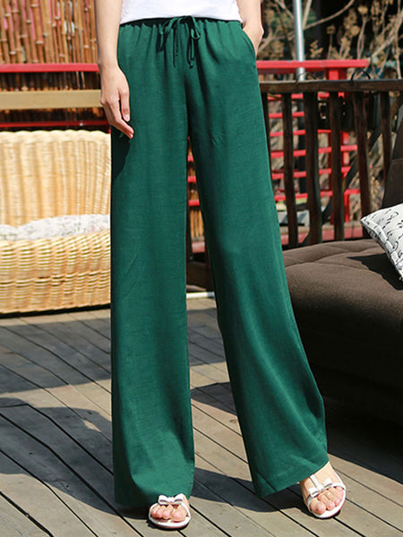 Summer Fashion Women Solid Linen Straight Pants