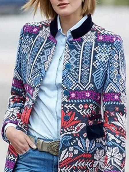 Stand Collar Tribal Printed Casual Blazer