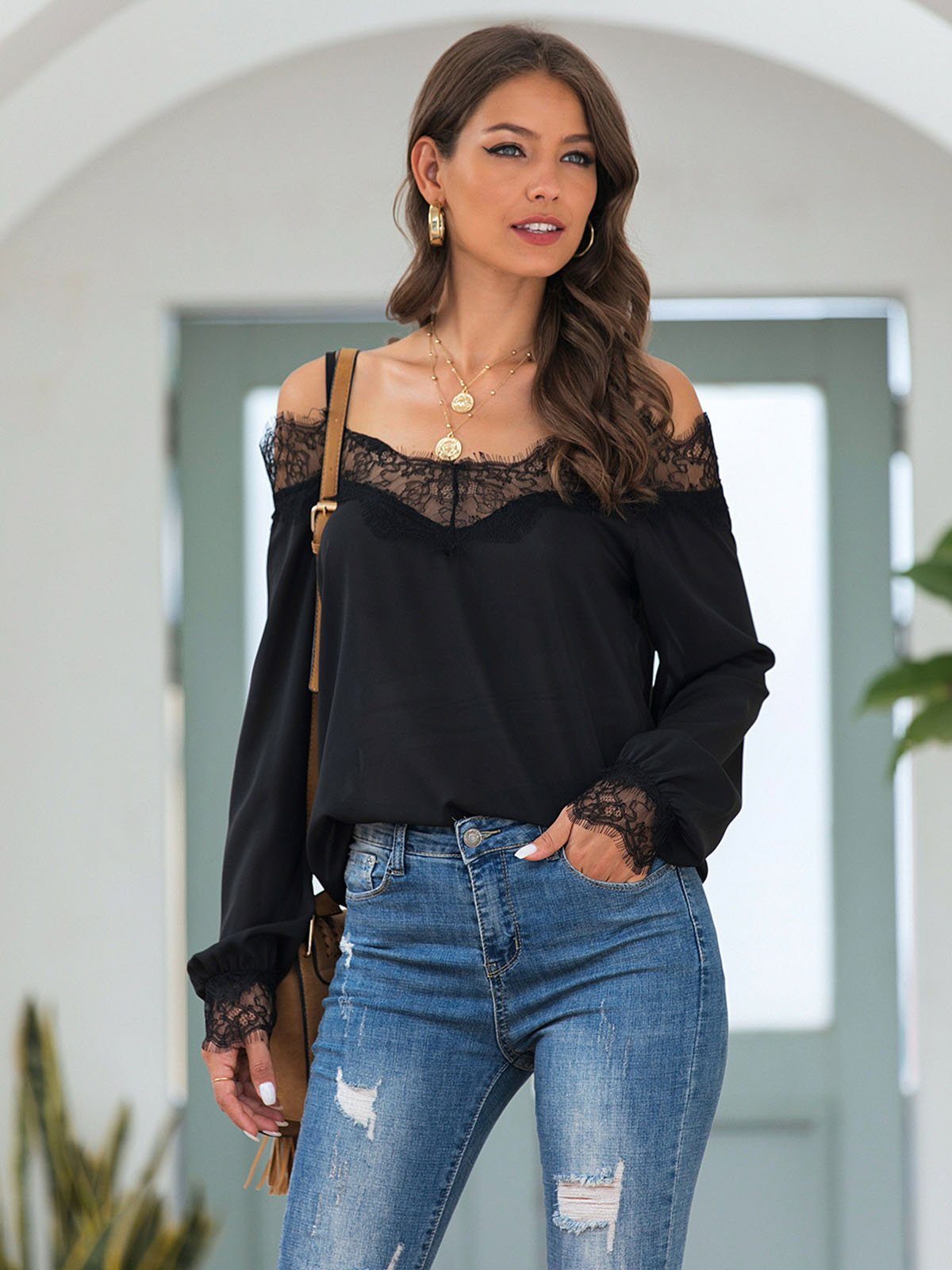 Black Shift Spaghetti-Strap Off Shoulder Solid Shirts & Tops