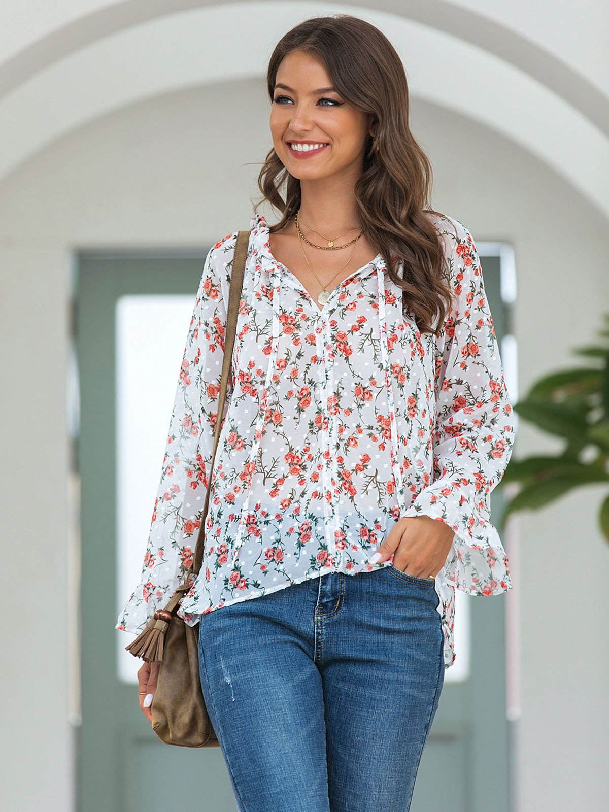 White Casual Floral V Neck Shirts & Tops