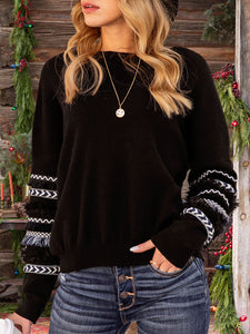 Women Crew Neck Fringed Tribal Casual Sweater