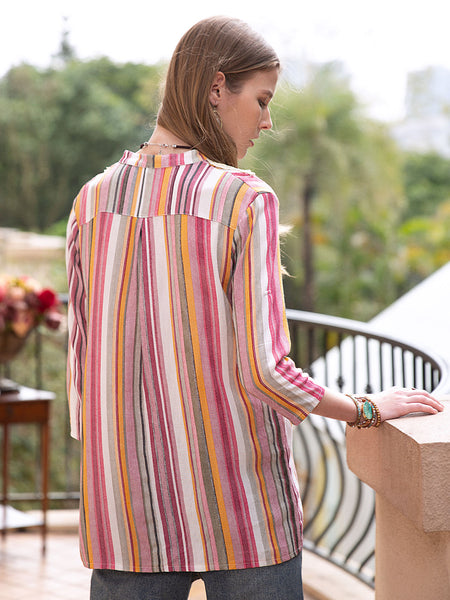 Women Linen Striped 3/4 Sleeve Appliqued Shirts & Tops