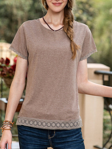 Women Casual Crew Neck Plain Fringed Lace-trimmed Tee