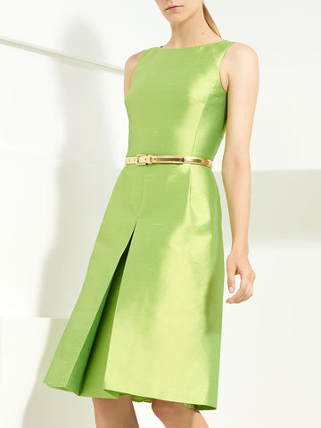 Slit Solid A-line Elegant Midi Dress