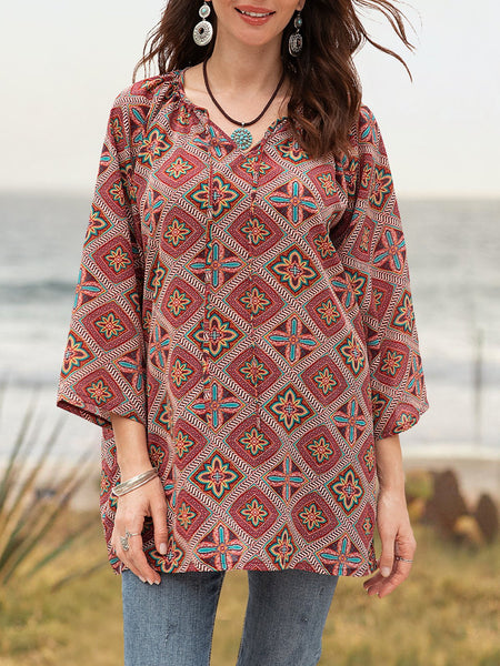 Women Boho Abstract V Neck Blouse