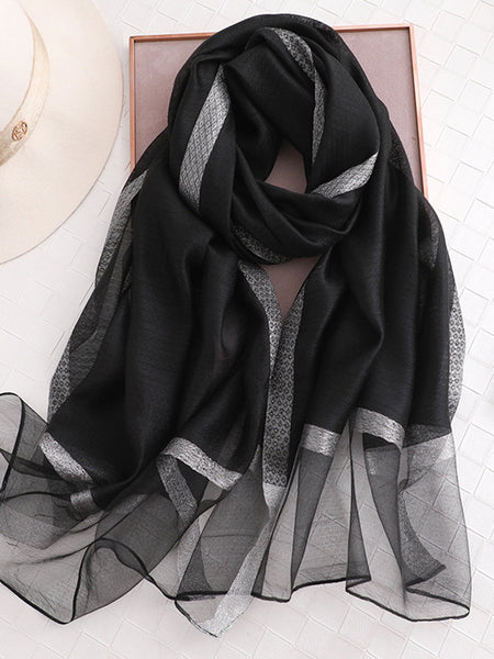 Daily Solid Casual Long Plain Women Spring Fall Silk Scarf