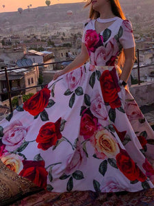 Floral Printed Holiday Maxi Dress