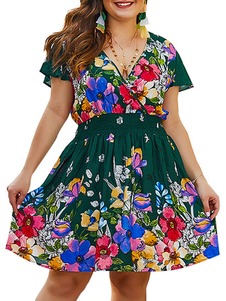 V Neck  A-Line Floral Plus size Mini Dress