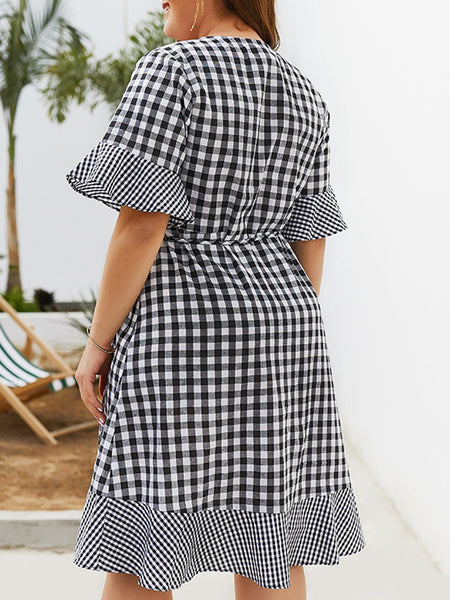 Black-White Dresses A-Line Daily Elegant Checkered/plaid Dresses