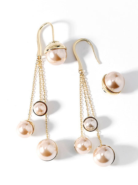 Champagne Imitation Pearls Elegant Alloy Earrings