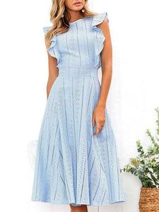 Ruffled A-Line Elegant Midi Dress