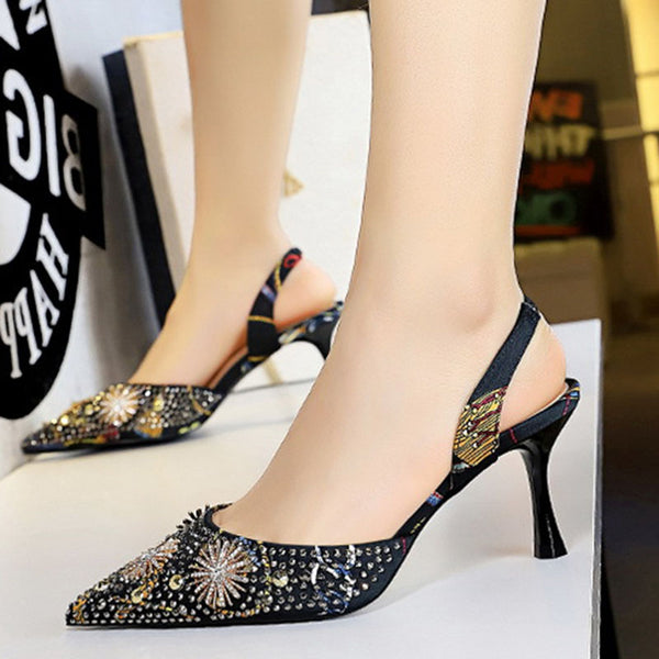 Rhinestone Stiletto Heel Date Summer Sandals