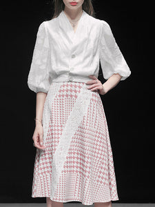 Jacquard Date Elegant Top with Skirt Set