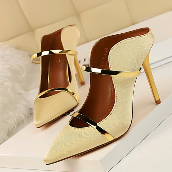 Sexy Pointed Toe Date Satin Heels