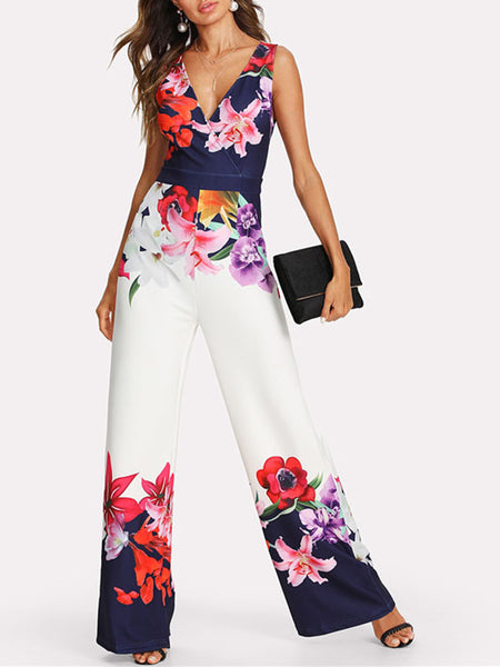 Floral Printed Sleeveless Holiday Jumpsuit