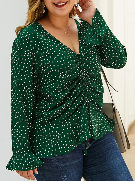 Long Sleeve Polka Dots Plus Sise Blouse