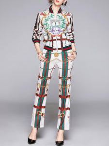 Printed Graphic Casual Coat with Pants Set