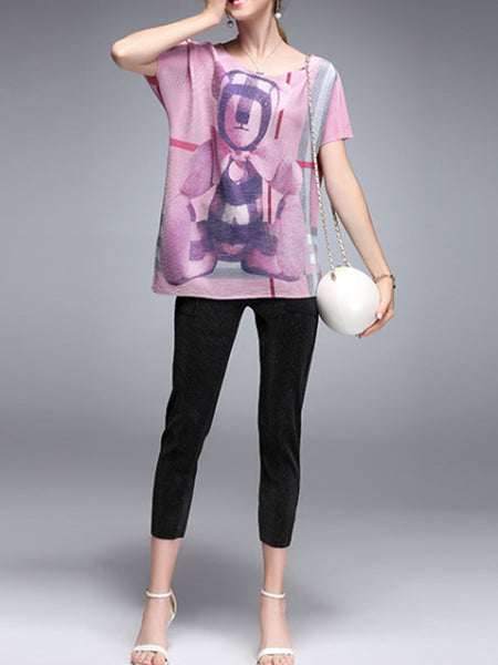 Printed Cartoon Casual Top with Pants Set