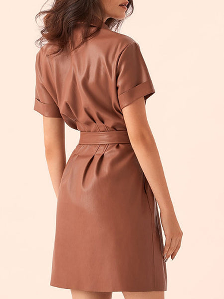 Buttoned A-Line Daily Elegant Midi Dress